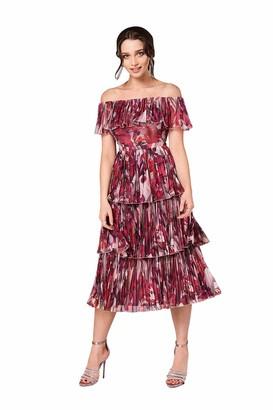 Little Mistress Women's Marlowe Floral Bardot Midi Dress Party