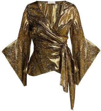Peter Pilotto Silk-blend Lame Wrap Blouse - Womens - Gold
