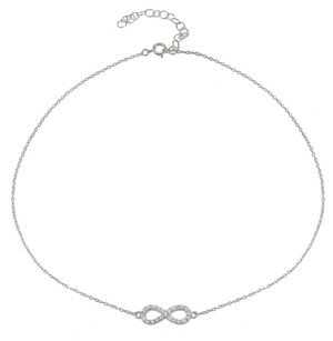 Giani Bernini Cubic Zirconia Infinity Symbol Necklace in Sterling Silver or 18k Yellow Gold Plated Sterling Silver