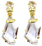 Kenneth Jay Lane Large Facet Crystal & Gold Drop Clip On Earrings