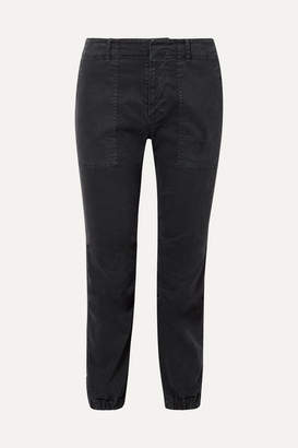 Nili Lotan French Military Cropped Stretch-cotton Twill Slim-leg Pants - Storm blue
