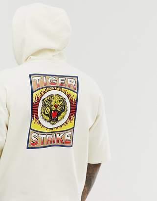 Asos Design DESIGN oversized short sleeve hoodie with tiger back print-Beige