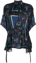 Sacai geometric and floral print sheer blouse