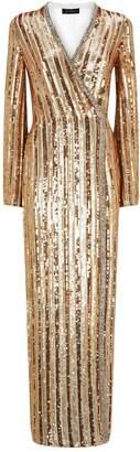 Jenny Packham Sequin Stripe Wrap Cecile Gown