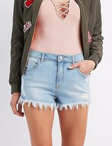 Charlotte Russe Refuge Hi-Rise Cheeky Cut-Off Denim Shorts