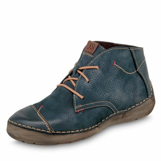 Josef Seibel Women Ankle Boots Fergey 18 Ladies Lace-up Ankle Boot Boots Chukka Boot Half Boots Lace Up Bootie Flat Blue(Blau) 42 EU / 8 UK