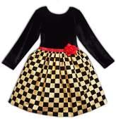 Joe-Ella Long Sleeve Stretch Dress with Checker Skirt (Baby, Toddler, & Little Girls)