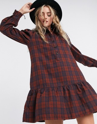 Only mini shirt dress with pephem in check print