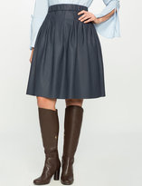 ELOQUII Plus Size Faux Leather Skater Skirt