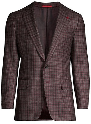 Isaia Plaid Wool, Cashmere, Silk & Linen Single-Breasted Blazer
