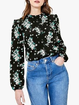 Oasis Dandelion Print Lace Detail Top, Black/Multi