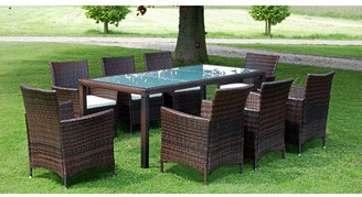 VidaXL Outdoor Dining Set 17 Pieces Poly Rattan Wicker Brown Seat Glass Table
