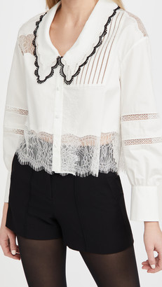 Self-Portrait Cotton Trimmed Shirt