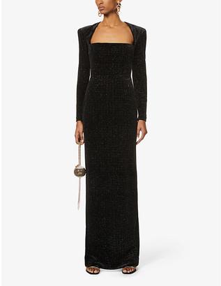 Alex Perry Houston glitter-embellished stretch-velvet maxi dress