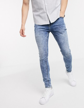 New Look super skinny acid washed jeans in blue