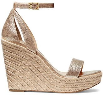 MICHAEL Michael Kors Kimberly Metallic Leather Platform Wedge Sandals