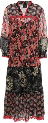 Anna Sui Lace-trimmed Printed Silk-georgette Midi Dress