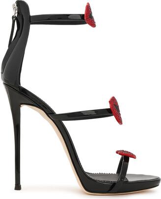Giuseppe Zanotti Coline 110 Appliqued Patent-leather Sandals
