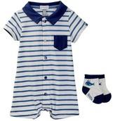 Absorba Stripe Romper & Socks Set (Baby Boys)