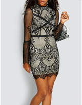 Missguided High-neck floral-lace mini dress