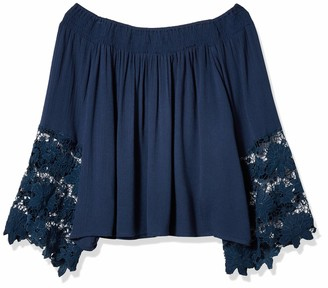 Glamorous Women's Bardot Off The Shoulder Lace Top Gray Blue