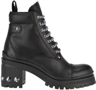 Miu Miu Rhinestone Studded Heel Hiking Boots