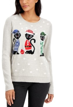 Karen Scott Petite Christmas Cats Pullover Sweater, Created for Macy's