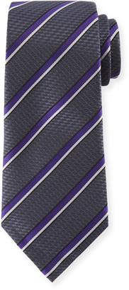 Ermenegildo Zegna Diagonal Stripe Silk Tie, Gray/Purple