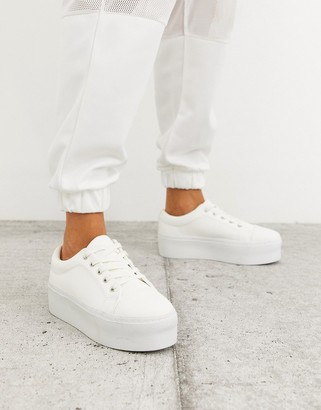 ASOS DESIGN Drama chunky lace up trainers in white