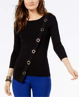 INC International Concepts I.n.c. Asymmetrical Grommet-Embellished Sweater, Created for Macy's