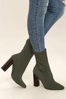 Araceli Olive Knit Mid-Calf High Heel Booties