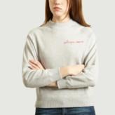 Maison Labiche Light Heather Gray Heart Catcher Embroidered Sweatshirt - xs