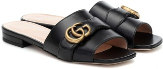 Gucci Double G leather slides