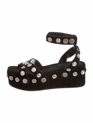 Alexander Wang Suede Studded Accents Sandals Black