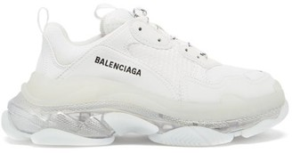 Balenciaga Triple S Leather And Mesh Trainers - White