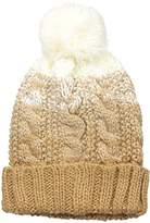 Rampage Women's Chunky Color Block Pom Knit Beanie