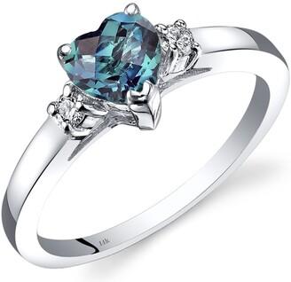 Oravo 14K White Gold 1 ct Heart Shape Created Alexandrite and Diamond Ring Size - 7