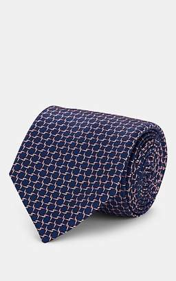 Barneys New York Men's Chain-Pattern Silk Necktie - Navy
