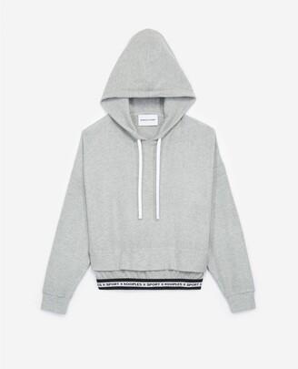 The Kooples Grey hooded sweatshirt with logo strip