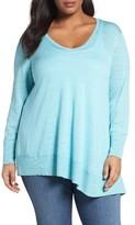 Sejour Plus Size Women's Asymmetrical Cotton Blend Sweater