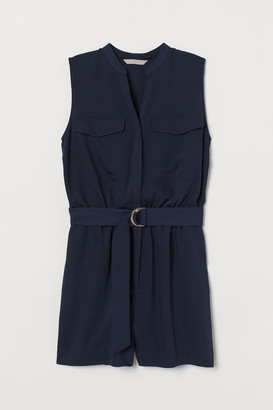 H&M V-neck Romper - Blue