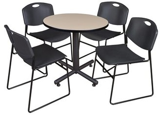"Symple Stuff Marin 30"" Round 5 Piece Breakroom Table and Chair Set Table Finish: Beige, Chair Finish: Black"
