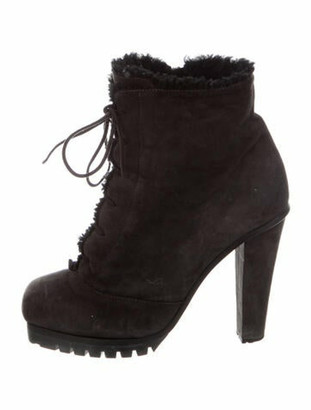 Marc Jacobs Suede Lace-Up Boots Grey
