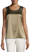 Lafayette 148 New York Roya Sleeveless Silk Blouse with Metallic Trim