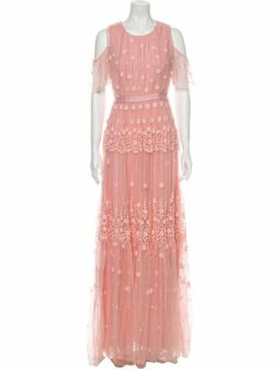 Needle & Thread Lace Pattern Long Dress Pink