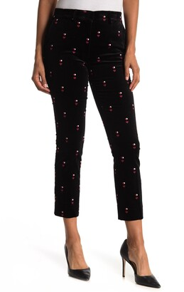 Frame The Perfect Heart Embroidered Velvet Cropped Trousers