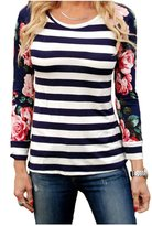 Amknn Floral Printed Sleeves Striped Splicing Long Sleeve T-Shirt Tops Blouse (S, )
