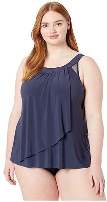 Miraclesuit Plus Size Illusionist Solid Ursula Top (Midnight Blue) Women's Swimwear