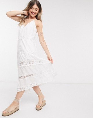 Accessorize lace insert day maxi dress in white