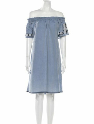 Ulla Johnson Off-The-Shoulder Knee-Length Dress Blue